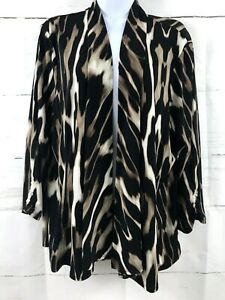 Chicos Open Front XL Cardigan Tunic Drape Animal Print 3 4 Sleeve Stretch Top A1 $13.95