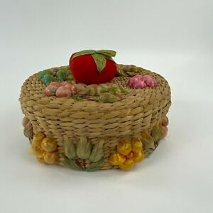 Vintage Sewing Basket Wicker Rattan Round 3D Floral Design Lid with Pin Cushion $33.99