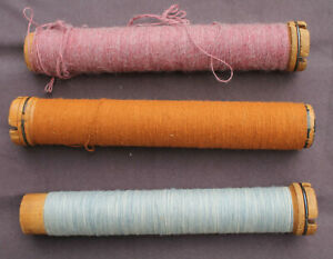 Antique Spools Bobbins set of 3 with wool $18.50