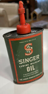 Vintage Singer Sewing Machine Oil Can 3 Fluid Ounces Can Half Full Red Cap $24.99