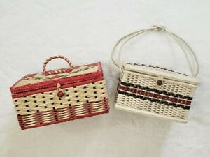 Lot of 2 Vintage Woven Basket Wicker Sewing Boxes $10.00