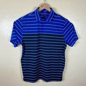 Under Armour Polo Shirt Mens Large Blue Striped Heat Gear Performance Golf $21.24