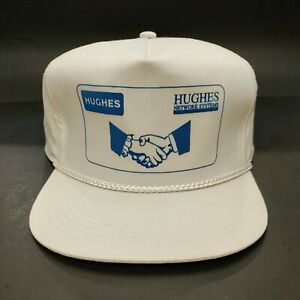 Vintage Hughes Network Systems White SnapBack Hat $22.00