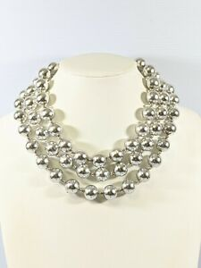 Vintage Silver Tone Large Round Bead Triple Strand Choker Necklace 19.5 Inches $10.00