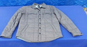 Rebel8 Eight Lives Left Brown Quilted Puffer Jacket Sz L Unisex Button Snap Fall