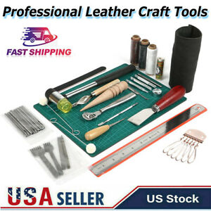 61PCS Leather Craft Working Tools Hand Sewing Supplies Stitching Groover Kit NEW $34.99