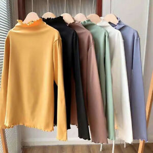Women#x27;s Casual Sweater Tops Turtleneck Long Sleeve Slim Knitted Pullover Autumn