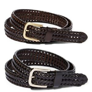 Men's Braided Leather Belt For Dress Work Or Casual Brushed Finish Metal Buckle $12.99