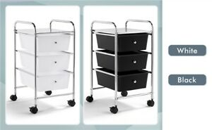 3 Drawers Rolling Storage Cart Plastic Trolley on Wheels Office Home Organizer