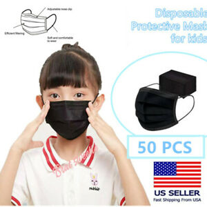 50 Pcs Kids Children Black 3 Ply Disposable Face Mask Earloop Mouth Cover $9.77