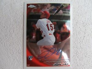 Cardinals Jon Jay Signed Autographed 2010 Topps Chrome Certified Mint $5.00