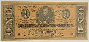 1864 $1 ONE DOLLAR CSA CONFEDERATE STATES OF AMERICA CURRENCY NOTE B FACSIMILE
