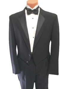 Black Tailcoat Tails Wool Tuxedo Tie Full Dress Perry Ellis RARE Buttoned Front