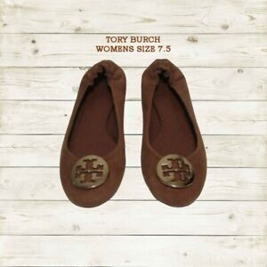 Tory Burch flats ballet shoes with metal gold logo suede brown 7.5 EUC $98.00