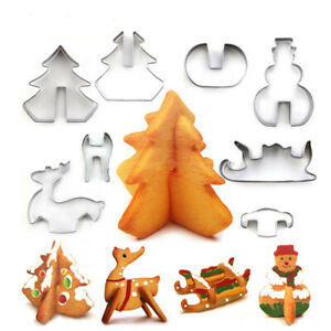 3D Christmas Cookie Cutters Set 8 Piece Stainless Steel Cookie Cutters $8.70