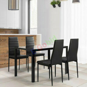 5 Pieces Dining Table Set for 4Kitchen Room Tempered Glass Dining Table US