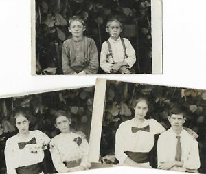 Lot of 3 RPPC Vintage Antique Photographs Family of Young Women amp; Boys $15.00