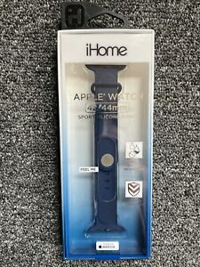 IHome Apple Watch Sport Silicone Band 42 44mm Blue NEW Sweat Water Resistant $3.00