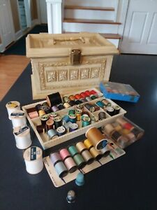 Vintage Tan amp; Gold Max Klein Plastic Sewing Box Assortment of Thread amp; Notions $29.99