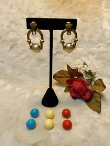 Vtg Sarah Coventry Pearl Coral amp; Turq Interchangeable Door Knocker Gold Earrings $34.77
