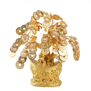Feng Shui Gold Coins Money Fortune Tree Bonsai Home Decor Wealth Blessing Gift $9.99