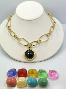 Joan Rivers Gold Tone Necklace amp; Pendant With 10 Interchangeable Stones $35.00