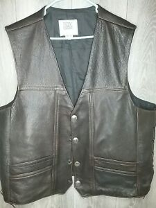 Fox Creek Mens Brown Braided Motorcycle Vest With Buffalo Nickels Button... $99.99