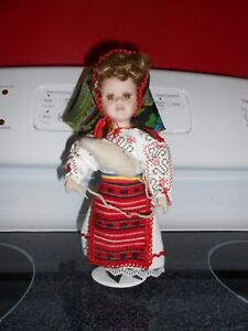 Porcelain Doll spool of wool sewing doll $13.99
