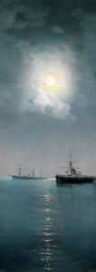 Large art Oil painting nice seascape ship at moon night on ocean canvas 20quot;x40 $75.59
