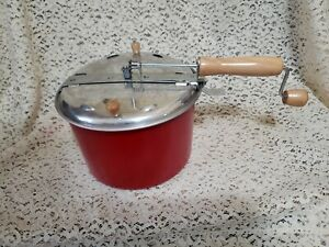BACK TO BASICS Stove Top Popper Handle Hand Cranked Popcorn Popper Red Aluminum