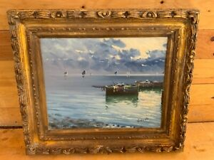 Italy Seascape Oil Painting by Palemo Sicily realist painter Mario Bardi $2150.00