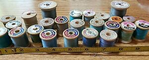 Vintage Wooden Thread Spools Lot of 24 of Various Sizes and Shapes many brands $13.35