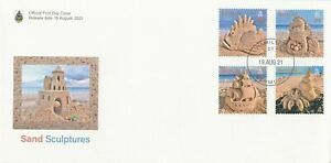 Bermuda 2021 FDC Art Stamps Sand Sculptures Beaches Seahorses Ships Fish 4v Set GBP 16.50