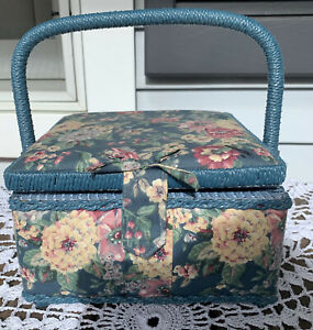 Vintage Sewing Basket Box Padded Floral Fabric Woven Handle Includes Contents $20.00