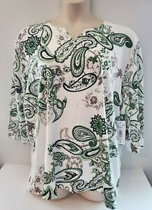 NWT LINKS Womens Off White Green Floral Paisley Blouse 3 4 Sleeve Plus Size 3X $29.99