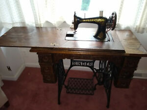 Antique Singer Treadle Sewing Machine and Table and Accessories $415.00