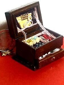 Wooden Sewing Box Loaded Drawer Dollhouse Miniature 1:12 Made in China $4.99