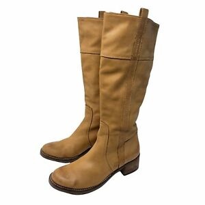 Lucky Brand Womens Boots Size 7.5 Beige Tan Leather Mid Heel Knee High Pull On