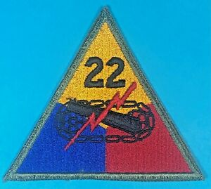 Post World War 2 22nd Armored Division SSI Full Emb. Excellent Cond. #2 $15.00