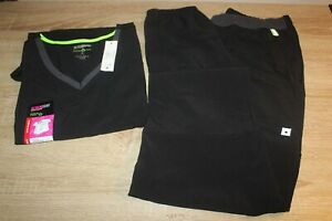 NWT ScrubStar Scrubs Womens Active V Neck Top amp; Pull On Pant in Black
