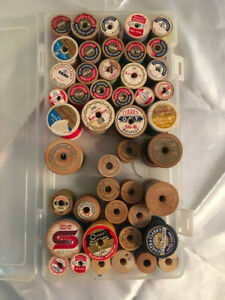 VINTAGE LOT OF 46 WOODEN SEWING THREAD SPOOLS $18.50