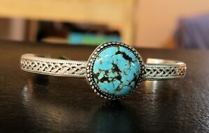 Sterling Silver Turquoise Cuff Bracelet Number 8 Turquoise on Ornate Band $50.00