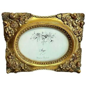 Gold ornate picture Frame Sage Thailand 5x7 bronze oval Hollywood Glam scroll $35.00