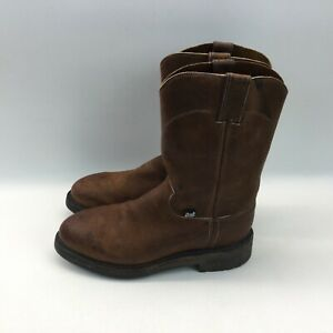 Justin mens 7D brown leather steel toe cowboy western work boots oil resistant