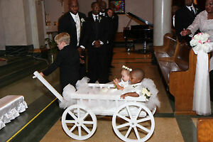 Flower Girl Pumpkin Wagon- Large size in Gloss White - Child's Wedding Wagon