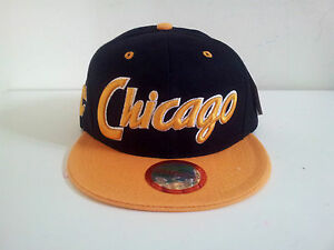 City Name quot;Chicagoquot; Houston Style Two Tone Black Yellow Snapback