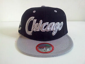 City Name quot;Chicagoquot; Houston Style Two Tone Gray Black Snapback