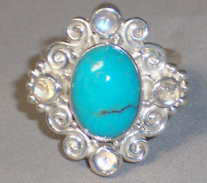 SAJEN STERLING SILVER TURQUOISE & MOONSTONE RING - SIZE 9 VINTAGE BUT NEVER WORN