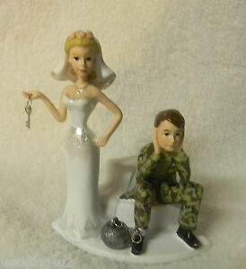 Wedding Reception Party Ball & Chain Camo Deer Hunting Hunter Cake Topper