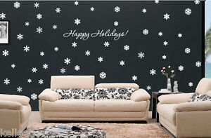 72 Snowflakes & Happy Holidays! wall art vinyl decal sticker Christmas Holiday